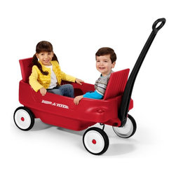 Radio Flyer - Radio Flyer Pathfinder Kids Wagon Multicolor - 2700 - Shop for Wagons from Hayneedle.com! About the Radio Flyer Pathfinder Wagon. Adding fun to being a kid! The Radio Flyer award-winning Pathfinder Wagon features exclusive folding seats. Seats flip up for a comfortable ride and they fold down for maximum hauling capacity. Child seat belts keep kids safely inside. This plastic wagon has an extra-long handle for easy pulling and the handle folds under for easy storage. The front axles are designed for non-tip turning and the 100% real rubber USA-Made TPE tires are a Radio Flyer exclusive. Four molded-in cup holders accommodate cans cups or juice boxes. For ages over 1-1/2 years. The Radio Flyer Pathfinder Wagon is the winner of several awards including the Oppenheim Toy Portfolio Gold Seal Award The National Parenting Center's Seal of Approval and the National Parenting Publications Gold Award.