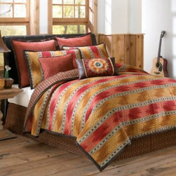 Scent-sation, Inc. - El Rancho Rojo Quilt - Inspired by the striking landscape and atmosphere of the American west, the El Rancho Rojo bedding has a beautiful palette of warm earth tones paired with bursts of vibrant color.