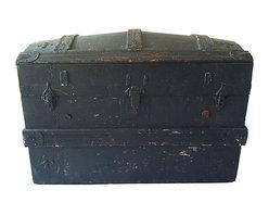 Vintage Trunk - Antique camel-back steamer trunk with original functional metal hardware and leather straps.