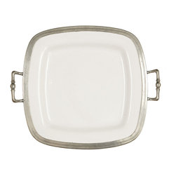 Tuscan Square Tray with Handles - Set your table in ever-fresh style with the simple, apt duet of authentic pewter and white ceramic. The pewter rim of the Tuscan Square Tray with Handles is accented by engraved lines following rounded corners, giving a sleek cafe look to this essential serving piece while making it easy to carry and easy to style for well-coordinated table settings.