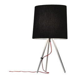"""Martinelli Luce - Martinelli Luce Eva Small Table Lamp - The Eva Small Table Lamp by Martinelli Luce has been designed by Emiliana Martinelli. Table lamp wiht diffused lightand indirecct light. Structure in brushed aluminium or painted in black. Available with fabric shade in black or white or shades with brushed aluminium or painted in black. Feeding cable in red with dimmer. Designed by Emiliana Martinelli in 2007, Eva reproposes the conventional lamp with shade in a modern and technological version and also in the metal version. A simple form that inspires peace, thought both for a classic and modern furnishing.   Product description:  The Eva Small Table Lamp by Martinelli Luce has been designed by Emiliana Martinelli. Table lamp wiht diffused lightand indirecct light. Structure in brushed aluminium or painted in black. Available with fabric shade in black or white or shades with brushed aluminium or painted in black. Feeding cable in red with dimmer. Designed by Emiliana Martinelli in 2007, Eva reproposes the conventional lamp with shade in a modern and technological version and also in the metal version. A simple form that inspires peace, thought both for a classic and modern furnishing.   Details:      Manufacturer:     Martinelli Luce      Designer:    Emiliana Martinelli      Made in:    Italy      Dimensions:     Height: 26.77"""" (68 cm) X Diameter: 15.75"""" (40 cm)        Light bulb:     1 X E27 Max 100W Halogen        Material:     Aluminium, Febric"""