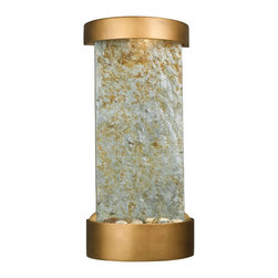 Kenroy - Kenroy 53238SL Midstream Table/Wall Fountain - Decorative and understated, Midstream has a stately presence.  Warm copper finish accents frame each uniquely textured slate background.  Hidden light from the top enhances the water's shimmer.