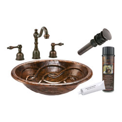 """Premier Copper Products - Premier Copper Products BSP2_LO19RBDDB Braid Self Rimming Copper Sink Package - Premier Copper Products BSP2_LO19RBDDB 19"""" Braid Self Rimming Copper Sink Package"""