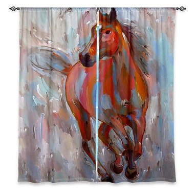 "DiaNoche Designs - Window Curtains Lined by Hooshang Khorasani Equine Elegance - Purchasing window curtains just got easier and better! Create a designer look to any of your living spaces with our decorative and unique ""Lined Window Curtains."" Perfect for the living room, dining room or bedroom, these artistic curtains are an easy and inexpensive way to add color and style when decorating your home.  This is a woven poly material that filters outside light and creates a privacy barrier.  Each package includes two easy-to-hang, 3 inch diameter pole-pocket curtain panels.  The width listed is the total measurement of the two panels.  Curtain rod sold separately. Easy care, machine wash cold, tumble dry low, iron low if needed.  Printed in the USA."