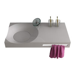 ADM - Wall Hung Stone Resin Sink, Matte - DW-118
