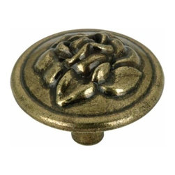 Richelieu Hardware - Richelieu Classic Metal Decorative Rose Knob 32mm Antique English - Richelieu Classic Metal Decorative Rose Knob 32mm Antique English