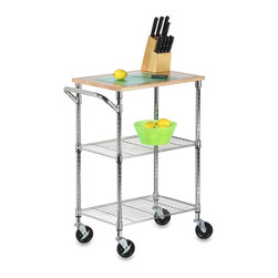 Honey Can Do - Chrome 2 Shelf Urban Rolling Cart - Adjustable. Hardwood Shelf. 28.5 in.W x 17.75 in. D x 37.5 in. H
