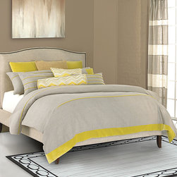 Twyla Bedding Collection - An unexpected blend of muted and vibrant colors imbues the Twyla Bedding Collection with a simple, cheery charm. Soft gray like that of velvet mist at dawn is accented with a jot of bold sun yellow, creating a pleasing bedscape as delightful as it is inviting. The simple design of the collection allows the focus to remain on the vibrancy of the coloration.