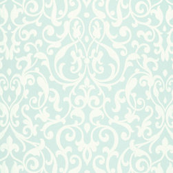 Schumacher - Celine Arabesque Fabric, Aqua - 2 YARD MINIMUM ORDER
