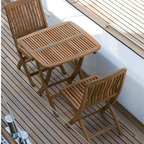 Folding Outdoor Teak Table and Chair - Folding outdoor teak table and chairs.