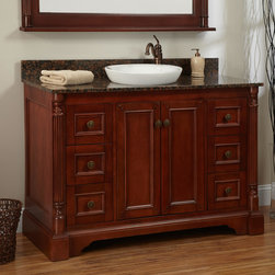 """48"""" Trevett Vanity for Semi-Recessed Sink - Cherry - A sophisticated design and a minimalistic, semi-recessed sink give the Trevett Vanity a refined look, suitable for many bathroom styles."""