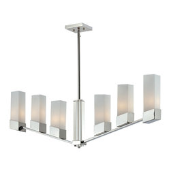 Z-Lite - Z-Lite 6 light island light - Bold and unique, this six light chandelier uses upwardly angled chrome arms to hold warm glowing matte opal shades. Beautiful crystal columns complete this contemporary look, and adjustable rods are included to ensure to perfect hanging height.