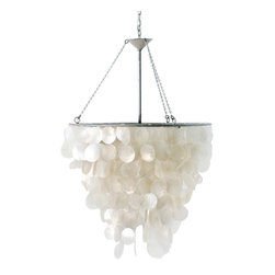Worlds Away - Worlds Away Capiz Shell Chandelier - Circular Capiz shells cascade from the round frame of this nature-inspired Worlds Away chandelier. Equal parts organic and glamorous, this hanging light fixture offers a pearlescent glow from above. Capiz shell. Accepts 60W bulb (not included). Includes 3' chrome chain and canopy.