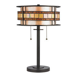 """Elk Lighting - Elk Lighting Annondale Collection 2 Light Table Lamp In Tiffany Bronze - 70191-2 - 2 Light Table Lamp In Tiffany Bronze - 70191-2 in the Annondale collection by Elk Lighting The Annondale collection features a ring of tan and brown tiffany glass pieces formed into a ring that """"floats"""" around a tan mica drum shade.  Filigree metal accents adorn the brown tiffany glass pieces while metal rings form the perimeter of each fixture in this Tiffany Bronze finished series.  Table lamp (1)"""