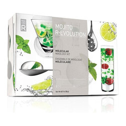 MOLECULE-R Flavors - Mojito R-Evolution Molecule-R Mixology Kit - Freshen up your party with the ultimate mojito experience! Introducing your taste-buds to the essence of the cocktail, this mojito kit will give guests a taste of the unexpected. Learn how to deconstruct your favorite cocktails and serve your mojitos in large bubbles that explode in the mouth, bite into a layered martini or add a touch of lime foam to your shots. Try this fresh take on the classic cocktail to take drinks and entertaining to a whole new level. Set includes: * 3 natural food additives (10 sachets) * Slotted spoon, 2 plastic pipettes, 1 silicone mold * 3 mojito recipes