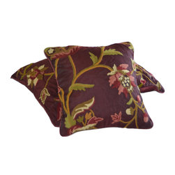 Crewel Fabric World - Crewel Pillow Sham Wild Flower Vermilion Silk Organza 16x16 Inches - Wild as weeds this Crewel pillow with beautiful combination of colors brings lot of personality to your contemporary home. Hand embroidered with 100% wool on cotton base