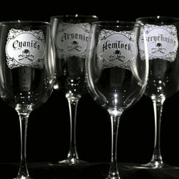 Crystal Imagery, Inc. - Name Your Poison Wineglass, Set of 4 - These elegant wineglasses come with a side of dark, edgy humor to make your guilty pleasure taste even better. Their artfully engraved, vintage-style poison labels will add a fun, bad-boy/bad-girl vibe to the party. A great gift idea.