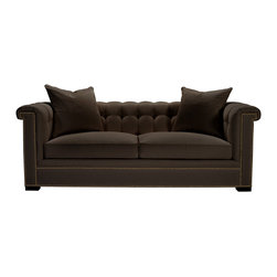 Kent Sofa in Dark Walnut & Brown - When you require a sofa to have detail enough to stand on its own as a design element in your room, choose the Kent Sofa as your main seating option.  Based on the timeless Chesterfield design, the sofa is hand-tufted at the back above smooth double seat cushions with the most modern mix of spring and down filling.  Nailhead trim clearly defines geometric lines at the front, making the rise of the English rolled arms seem even more luxurious.