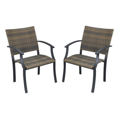 Home Styles - Home Styles Newport Arm Chairs in Black/Brown  (Set of 2) - Home Styles - Patio Dining Chairs - 5600812 - The Newport Arm Chair features a two-tone Walnut Brown synthetic-weave seat and back over an aluminum frame in a Black finish.   The synthetic-weave is both moisture and weather resistant and requires very little maintenance.  Adjustable nylon glides prevent damage to surfaces caused by movement and provide stability on uneven surfaces.  All Homes Styles outdoor casual dining chairs are sold two per pack and are designed to stack for easy storage.