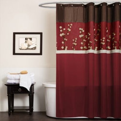 Triangle Home Fashions - Cocoa Flower Red Fabric Shower Curtain - Red and brown make the perfect pairing in this faux silk shower curtain. This fabulous shower curtain combines red and brown fabric with gentle white stripes and beautiful flower embroidery along the top.
