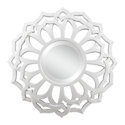 Cooper Classics - Cooper Classics Martin Mirror - The interwoven ends of the frame for this wall mirror create a layered flower blossom-like shape, softened and subdued by the glossy white finish. A classic round mirror with a beveled edge sits at the middle of the flower shape to set the foundation for the contemporary styling of this home decor accent. Modern, eclectic, fresh - the wall decor piece combines three-dimensional structure with crisp white color and elegantly filigreed framing to create a beautiful and stunning piece for your space.Crafted from polyurethaneGlossy white finishRound mirror with beveled edgesAlso available in the black Covington Mirror