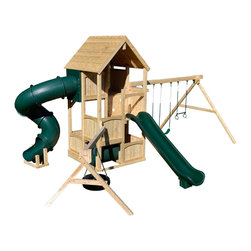Triumph Play Systems - Triumph Play Systems Canterbury Deluxe Swing Set - Relax and watch your child's imagination take them away on this exclusive five-level swing set.  The Canterbury Deluxe features a three-position swing beam with adjustable legs to accommodate un-level yards, two belt swings, a trapeze swing, a 360-degree tire swing arm, crawl tube, wood roof, a awesome tube slide, and a scoop slide. Made in the USA from domestically grown Northern White Cedar.  Assembly required.