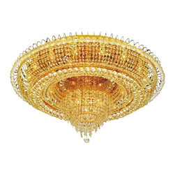 "The Gallery - French Empire Crystallush chandelier Lighting - 100% crystal chandelier, this Flush Empire chandelier is characteristic of the grand chandeliers which decorated the finest Chateaux and Palaces across Europe and reflects a time of class and elegance which is sure to lend a special atmosphere in every home. Assembly Required. Please note, when you purchase an item from the Gallery you can be assured of the ""Gallery 4 Points of Confidence"" :"