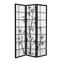 "Oriental Furniture - 6 ft. Tall Canvas Bamboo Tree Room Divider - Black - 3 Panels - Add a touch of Asian flair to your home or business with our Canvas Bamboo Tree Room Divider. Printed on high-quality canvas stretched around a wooden frame, this room divider resembles a traditional shoji screen. Please note that the actual frame is on the inside, and the visible ""frame"" is part of the print."