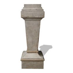 Pedestal Accent Table, Weathered Creams, Gray, and Gold Leaf - Pedestal Accent Table, Weathered Creams, Gray, and Gold Leaf