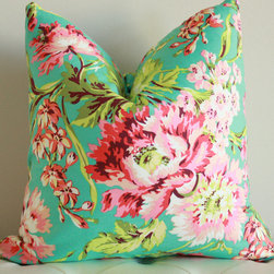 Spring Floral Pillow - This pink and turquoise floral pillow from the Lacey Placey pillow shop had me at hello. In fact, I love it so much that I had to snag one for my little girl's nursery.