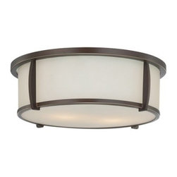 Quoizel Fixture QF1214SPN Flush Mount - 13W in. - Palladian Bronze - The Quoizel Fixture QF1214SPN Flush Mount - 13W in. - Palladian Bronze has an off-white drum-shaped glass shade surrounded by a steel frame in palladian bronze. The result is an understated, transitional style that provides a beautiful accent for any decor. This flush-mount ceiling fixture uses two 60-watt bulbs (not included).About Quoizel LightingLocated in Charleston, South Carolina, Quoizel Lighting has been designing timeless lighting fixtures and home accessories since 1930. They offer a distinctive line of over 1,000 styles, including chandeliers, lamps, and hanging pendants. Quoizel Lighting is the perfect way to add an inviting atmosphere to any area in your home, both indoors and out.