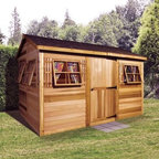 Cedar Shed 12 x 8 ft. Beach House Garden Shed - Additional features: Complete with one year limited manufacturer's warranty Interior measures 12W x 7.75D x 7.8H ft. 6 functional windows measure 16.25W x 25.25H inches Cedar door is lockable and measures 3W x 6H ft. Includes 2 x 4 foot cedar floor joist and plywood floor boards Complete with decorative cedar shutters and a planter box Assembly is easy with all necessary tools even the bit included Wood arrives pre-cut and ready to build Cedar features natural oils that preserve wood and resist insect damage From storing gardening supplies to providing you with a quiet hangout the Cedar Shed 12 x 8 ft. Beach House Storage Shed has you covered. With plenty of room to store all your outdoor gear and extra charm to boot this shed offers a respite from the hectic daily grind. Store your beach gear lounge on a chaise or plant your favorite perennials. Ships complete with all the necessary tools for easy comprehensive assembly. About Cedar Shed IndustriesSince 1980 Cedar Shed has grown to be one of the largest specialty cedar product manufacturers in the world. They offer top quality products like gazebos sheds and outdoor furniture all made from high-quality Western Red Cedar. Over the years Cedar Shed has grown developed and matured to the point where they are now shipping thousands of gazebos and garden sheds every year to customers around the world. Why Western Red Cedar?The supremacy of Western Red Cedar as an all-weather building material is entirely natural. Along with its beauty stability and endurance Western Red Cedar contains natural oils that act as preservatives to help the wood resist insect attack and decay. Properly finished and maintained Western Red Cedar ages gracefully and endures for many years. Western Red Cedar is non-toxic and safe for all uses. Over time the wood remains subtly aromatic and the characteristic fragrance adds another dimension to the universal appeal of the Cedar Shed products.