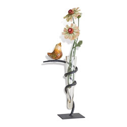 Mathews & Company - Glass Vase with Iron Stand and Bird Accent - Our overview of the new Glass Vase with Iron Stand and Bird Accent is on its way but you can still purchase this wonderful piece for your living quarters today. If you have questions about the product just drop a line or send us an email! You can get all the important specifications below.