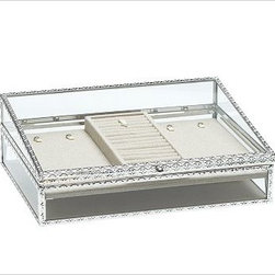 """Antique-Silver Jewelry Box, Large - Modeled after museum display cases, these Antique Silver Jewelry Boxes are designed to showcase your most beautiful jewelry and collectibles from every angle. With heirloom-quality workmanship, both styles feature intricate designs created by a punched-metal technique. Small: 9"""" wide x 6"""" deep x 3.5"""" high Large: 13.5"""" wide x 10"""" deep x 5"""" high Embossed-steel metal frame has a silver-plated finish. Lined with ivory linen. Monogramming is available for an additional charge. Inserts not included."""
