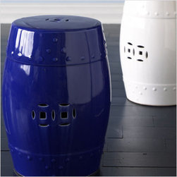 "Garden Stool 18"" Side Table, Blue - Garden stools are super trendy this year, and I love this bold cobalt blue one. Use it in your reading nook; I stack a few Architectural Digests on top of mine."