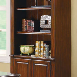 Coaster - Peterson Bookcase - Create a classic look with all the practicality needed for an efficient home office. The Peterson collection features a warm walnut finish with detailed moldings and decorative hardware. This desk features built-in wire management outlets on the side, plenty of storage space and a leather-like inlay to provide a softer work surface. Whether you have a large office or a small one, this bookcase is ready to accommodate any size room. Built with removable moldings, these bookcases can be placed side by side to create a large seamless storage unit.