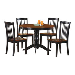Homelegance - Homelegance Andover 5-Piece Round Dining Room Set in Oak & Black - Your cozy breakfast nook will be complete with the Andover collection . The traditional pedestal base is elongated to counter height level lending a casual feel to this 5-piece offering. The table and spindle back chairs are featured in an antique oak and black two-tone finish. Also available in regular dining height.