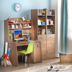 Modern Wood - Contemporary design meets industrial strength with this desk set. Wood finish and metal accents.