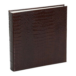 Large Bound Album Crocodile Embossed Leather - This classic leather album is a handsome way to show your cherished memories.