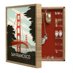 DENY Designs - Anderson Design Group San Francisco BlingBox Petite - Handcrafted from 100% sustainable, eco-friendly flat grain Amber Bamboo, DENY Designs' BlingBox Petite measures approximately 15 x 15 x 3 and has an exterior matte cover showcasing the artwork of your choice, with a coordinating matte color on the interior. Additionally, the BlingBox Petite includes interior built-in clear, acrylic hooks that hold over 120 pieces of jewelry! Doubling as both art and an organized hanging jewelry box, It's bound to be the most functional (and most talked about) piece of wall art in your home! Custom made in the USA for every order.