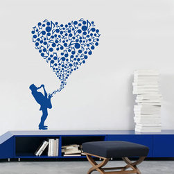 ColorfulHall Co., LTD - Music Wall Decals Heart Shape Made Of Music Notes With Saxophone Art, Blue - Music Wall Decals Large Heart Shape Made of Music Notes with Saxophone Art