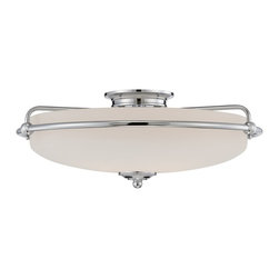 Quoizel - Quoizel QZ-GF1621C - This understated style provides a stylish, soft modern look for most any room.  The etched shade is painted white inside, diffusing the light evenly and illuminating your home with a soothing glow.  It is held in place by softly curved arms and is available in three finishes: Antique Nickel, Polished Chrome and Palladian Bronze