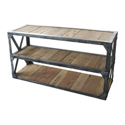 Kathy Kuo Home - Duffy Industrial Reclaimed Wood 3 Shelf Scaffolding Console Table - This piece combines form and function with an Industrial vibe. Unfinished, natural reclaimed wood and riveted metal in a perfectly crafted rectangle provide three, long storage shelves. Use the tabletop to display artwork, photography or an eclectic vase collection. The piece is as versatile as it is gorgeous.