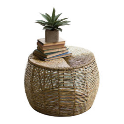 Recycled Iron Coffee Table - Summer is about lightening things up. We like this recycled iron coffee table, covered in sea grass, to help bring a beachy vibe to our space. Indoors. Outdoors. It works either way.