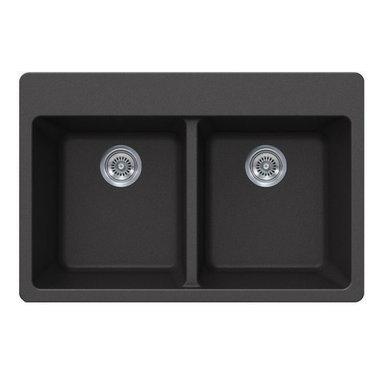 Black Quartz Composite Double Bowl Undermount / Drop In Kitchen Sink - Undermount / Drop In Kitchen Sink. Double Bowl. Black Quartz Composite. Deck contains Four faucet drill-out holes. Dimensions 33 x 22 x 9 Inch