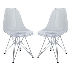 Modway - Paris Dining Side Chair, Clear With Chrome Wire Base, Set of 2 - These molded plastic chairs are both flexible and comfortable, with an exciting variety of base options. Suitable for indoors or out, appropriate for the living and dinning room, these versatile chairs are a great addition to any home decor statement.