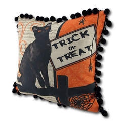 Black Cat/Owl Halloween Pillow w/ Ball Fringe - This reversible pillow adds a festive accent to your home for Halloween. One side wishes passersby a happy Halloween, with an owl perched on a crescent moon. The other side asks `Trick or Treat?` with a curious black cat awaiting your reply. The pillow measures 12 inches by 12 inches, has fun pom pom trim around the edges, and is made of cotton and filled with polyester stuffing. Recommended care instructions are to spot clean or dry clean, only. Made in the U.S.A.