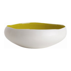 Arteriors - Whitney Bowl - You'll definitely make some waves with this organically pleasing bowl. With an undulating rim, matte white exterior and glossy citron interior, it makes an intriguing catchall. Or, you can use it solo as a statement piece.
