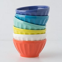 "Anthropologie - Latte Bowls - Set of sixPorcelainDishwasher and microwave safe18 oz3""H, 5.5"" diameterPortugal"