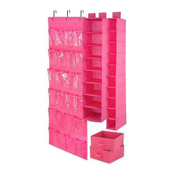 Honey Can DO - Closet Organizing Set - Pink, 4-Piece - The perfect closet organizing starter kit. Our pink 4-piece closet organizing set includes one 6-shelf hanging organizer, one 20-pocket shoe organizer, one 10-shelf hanging organizer and one under bed storage bag. Warning: Your closet is about to get organized.